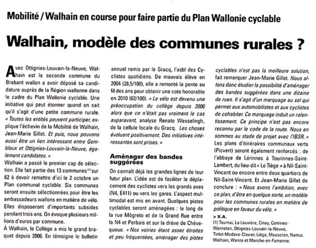 Walhain, modèle des communes rurales?