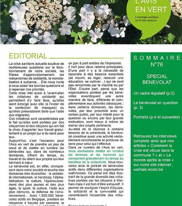 L'avis en vert 76 – Printemps 2020